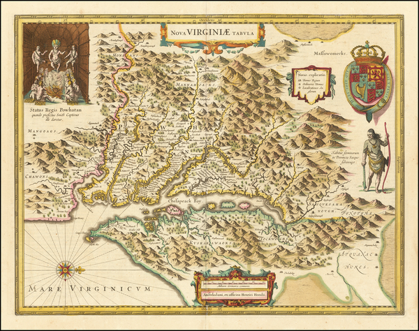 61-Maryland, Southeast and Virginia Map By Henricus Hondius