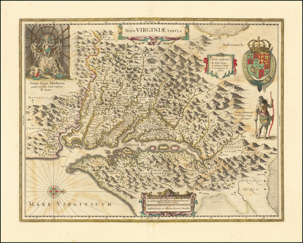 64-Maryland, Southeast and Virginia Map By Henricus Hondius