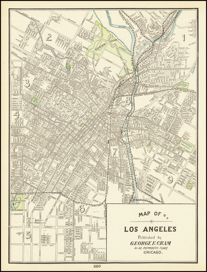 16-Los Angeles Map By George F. Cram