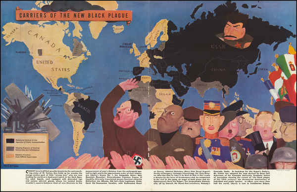 46-World, Pictorial Maps and World War II Map By William Henry Cotton