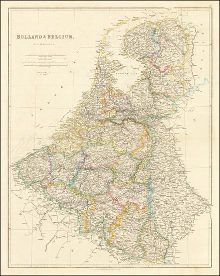 80-Netherlands and Belgium Map By John Arrowsmith