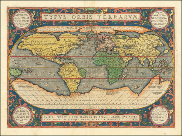 75-World and World Map By Abraham Ortelius
