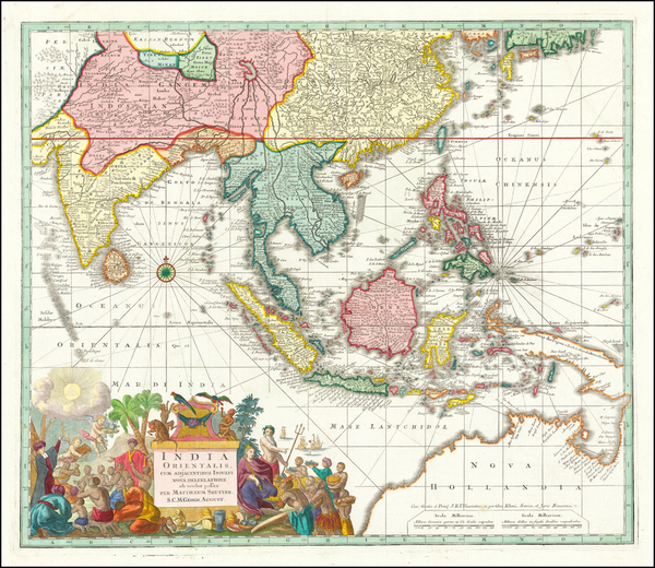65-India, Southeast Asia, Philippines and Australia Map By Matthaus Seutter
