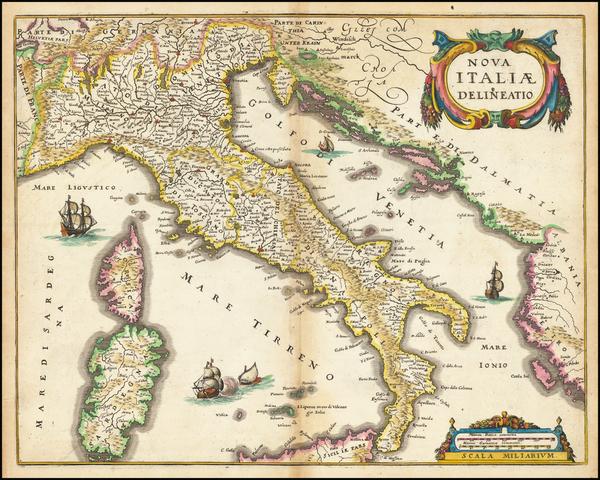 73-Italy Map By Matthaus Merian