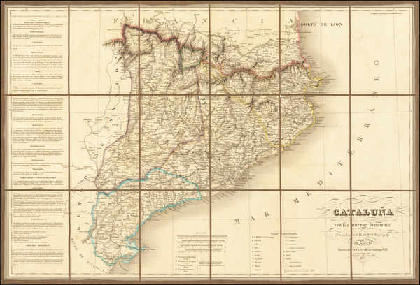 75-Spain Map By Adolphe Hippolyte Dufour