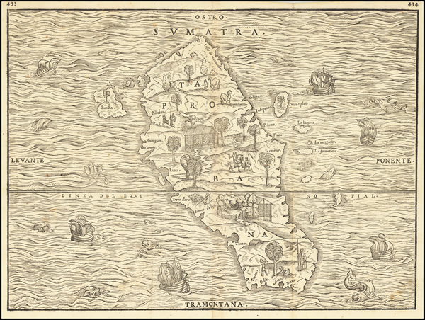 36-Indonesia and Sri Lanka Map By Giovanni Battista Ramusio