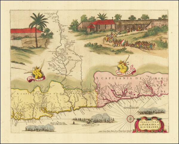 4-Brazil Map By Gaspar Barleus / Johannes Blaeu