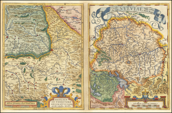 65-Switzerland and Germany Map By Abraham Ortelius