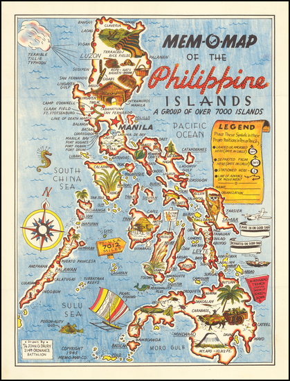90-Philippines and Pictorial Maps Map By John G. Drury