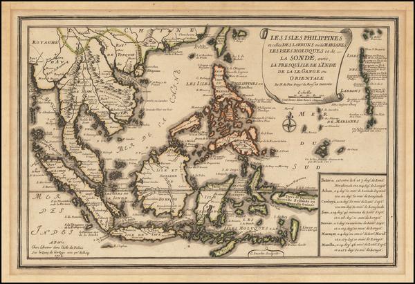60-Philippines, Indonesia, Malaysia and Thailand, Cambodia, Vietnam Map By Nicolas de Fer