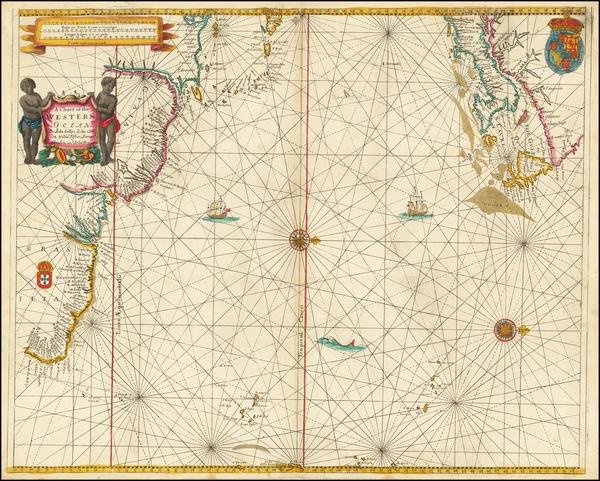 82-Atlantic Ocean, New England, Canada, Caribbean, South America and Brazil Map By John Seller