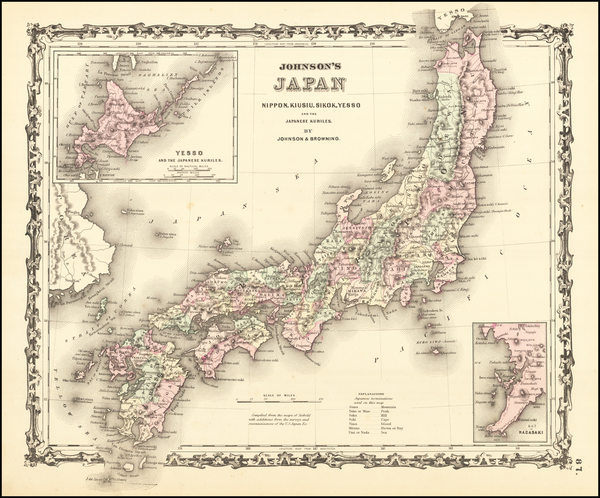 7-Japan Map By Alvin Jewett Johnson  &  Browning
