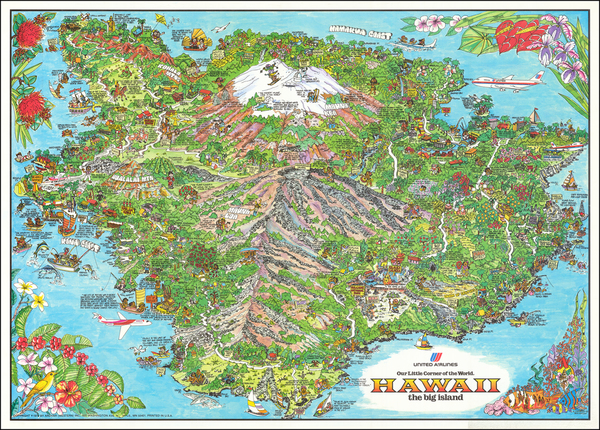90-Hawaii, Hawaii and Pictorial Maps Map By Kim Forrest