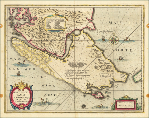 54-Polar Maps, Argentina and Chile Map By Henricus Hondius