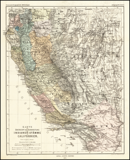 5-Nevada and California Map By Augustus Herman Petermann