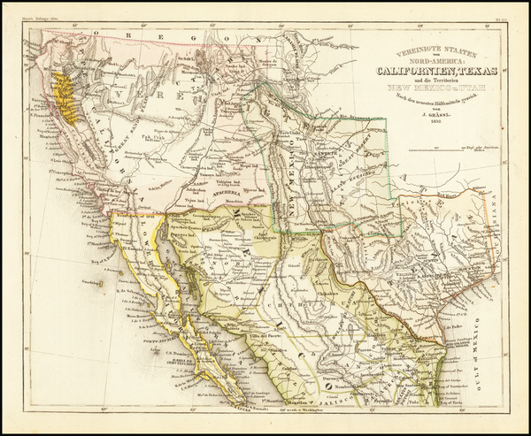 39-Texas, Southwest, Rocky Mountains, Mexico and California Map By Joseph Meyer