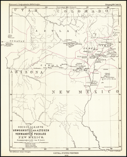 47-Southwest, Arizona, New Mexico and Rocky Mountains Map By Augustus Herman Petermann