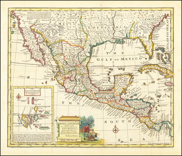 92-South, Texas, Southwest and Mexico Map By Emanuel Bowen