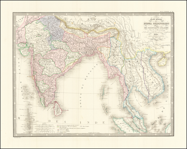 36-India, Malaysia and Thailand, Cambodia, Vietnam Map By J. Andriveau-Goujon