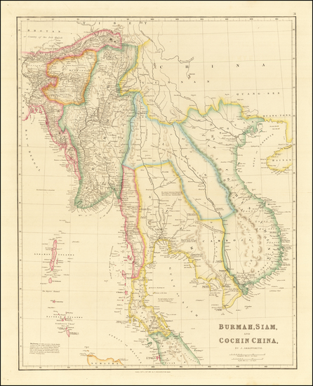 37-Southeast Asia, Malaysia and Thailand, Cambodia, Vietnam Map By John Arrowsmith