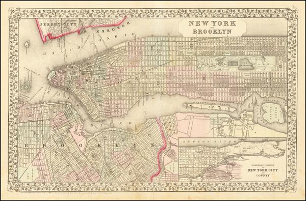 97-New York City Map By Samuel Augustus Mitchell Jr.