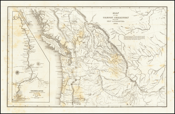 64-Rocky Mountains, Pacific Northwest, Oregon and Washington Map By Charles Wilkes