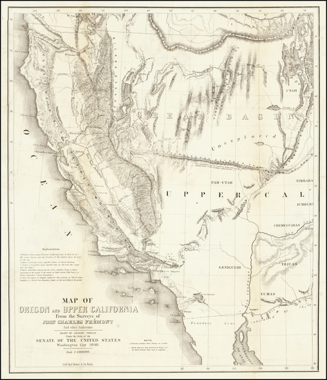 65-Southwest, Arizona, Utah, Nevada, Utah and California Map By John Charles Fremont / Charles Pre
