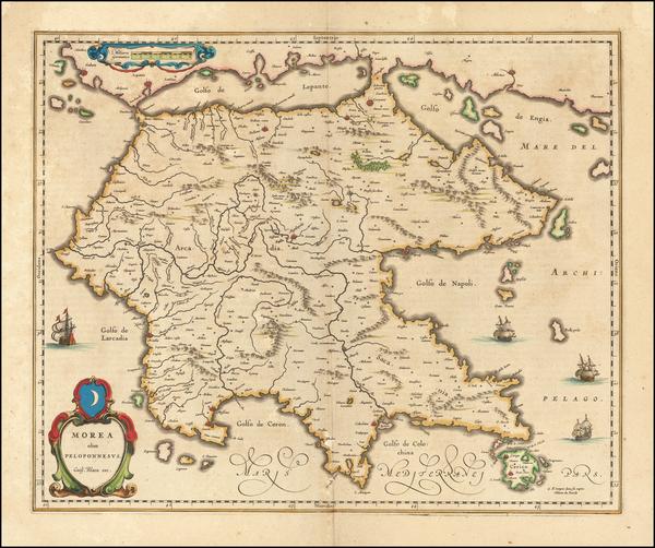 41-Greece Map By Willem Janszoon Blaeu