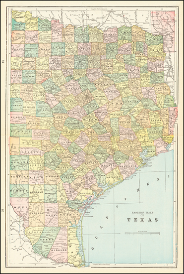 99-Texas Map By George F. Cram