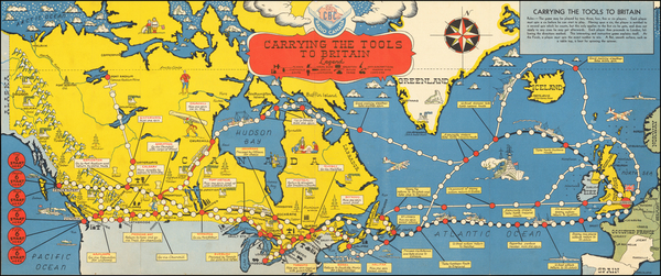 0-World, Atlantic Ocean, Canada, British Isles, Pictorial Maps and World War II Map By Canadian B