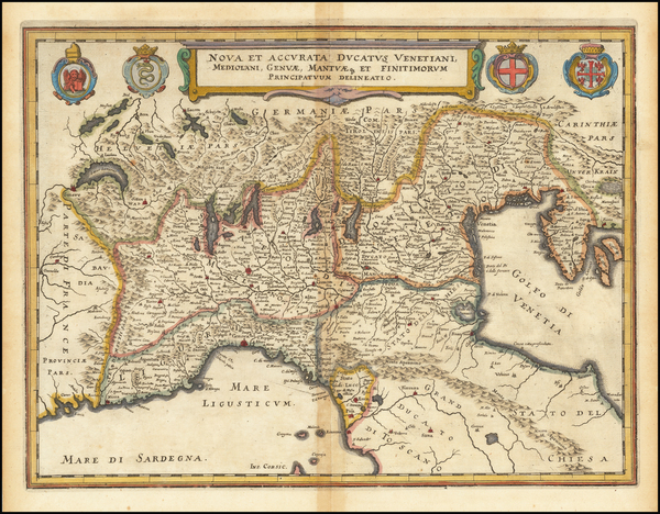 55-Northern Italy Map By Matthaus Merian