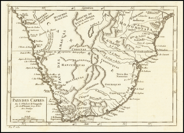 21-South Africa Map By Gilles Robert de Vaugondy