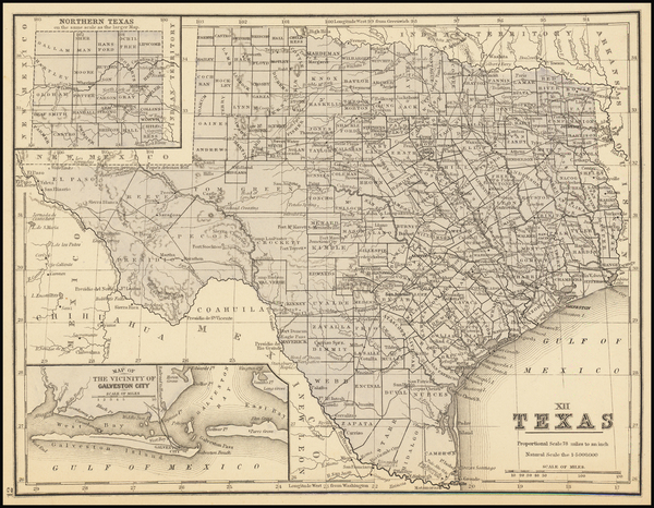 96-Texas Map By Samuel Augustus Mitchell Jr.