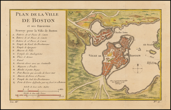 52-Massachusetts and Boston Map By Jacques Nicolas Bellin