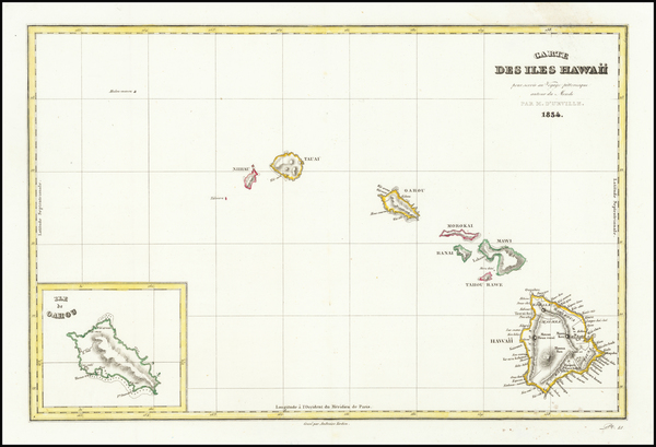 74-Hawaii and Hawaii Map By Jules Sebastian Cesar Dumont-D'Urville