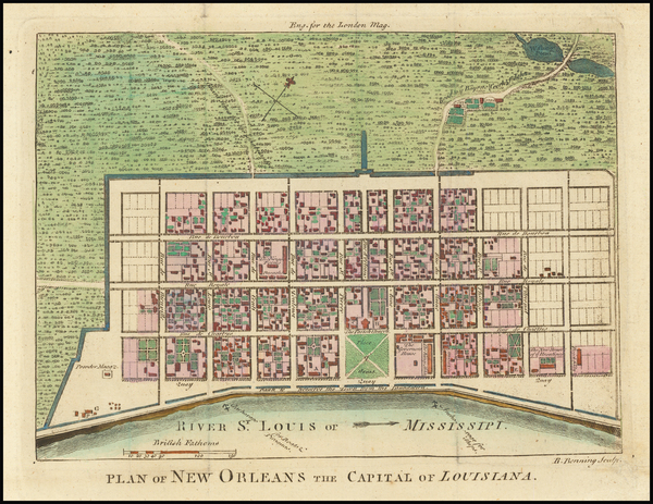 91-South and Louisiana Map By London Magazine