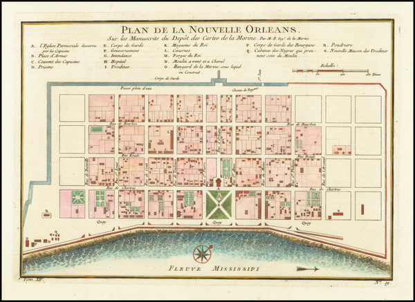 17-South and Louisiana Map By Jacques Nicolas Bellin