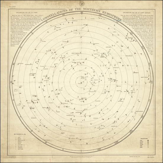 50-Celestial Maps Map By U.S. Hydrographical Office