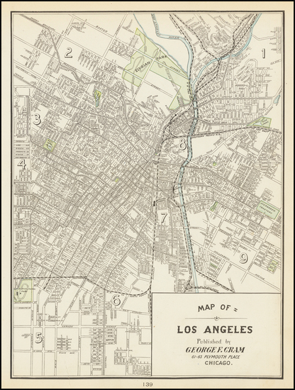 7-Los Angeles Map By George F. Cram