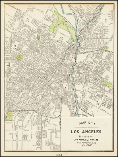 81-Los Angeles Map By George F. Cram