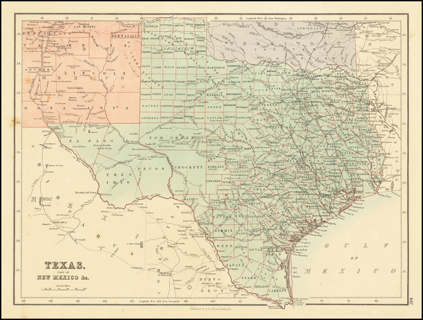 31-Texas and Oklahoma & Indian Territory Map By Adam & Charles Black