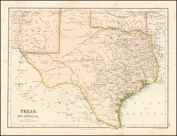 47-Texas Map By Adam & Charles Black