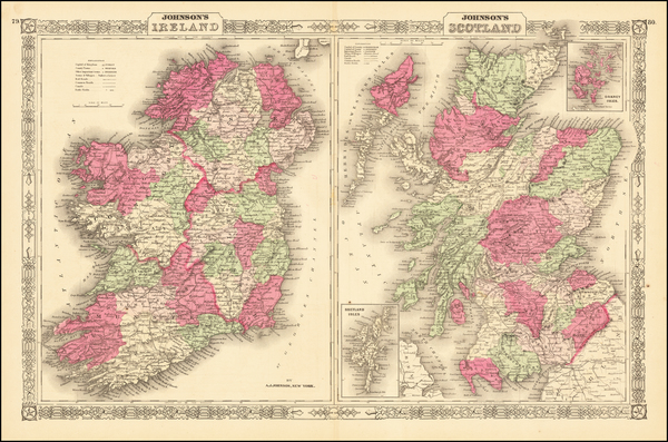66-Scotland and Ireland Map By Alvin Jewett Johnson