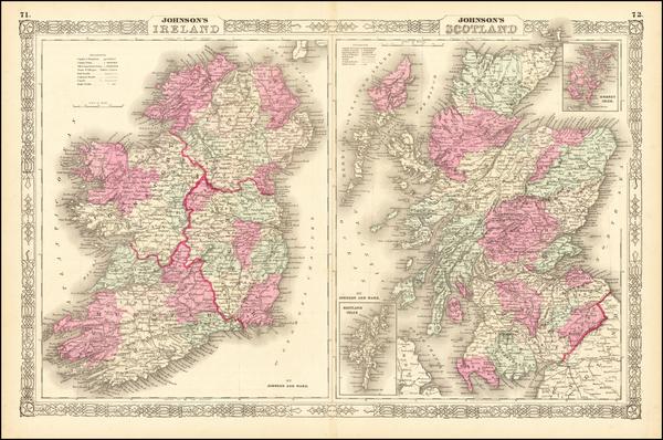 88-Scotland and Ireland Map By Alvin Jewett Johnson