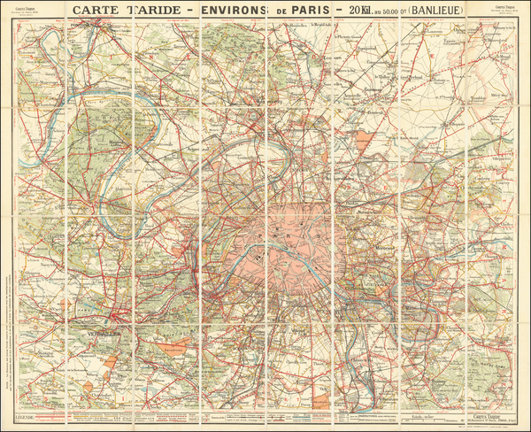 92-France and Paris Map By A. Taride