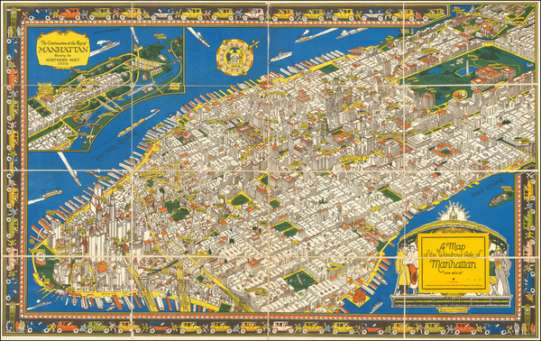 20-New York City and Pictorial Maps Map By C.  V. Farrow