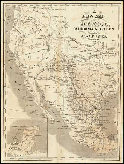 54-Texas, Plains, Southwest, Rocky Mountains and California Map By J.A. James & Co.