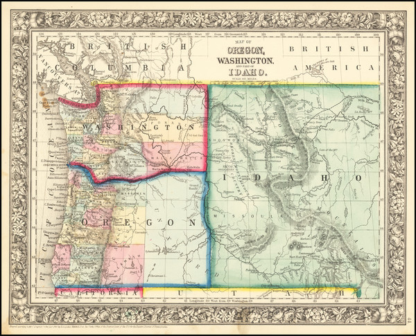 25-Idaho, Oregon and Washington Map By Samuel Augustus Mitchell Jr.