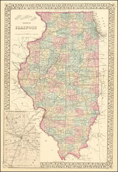 58-Illinois Map By Samuel Augustus Mitchell Jr.