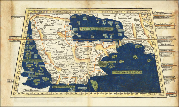 52-Middle East and Arabian Peninsula Map By Claudius Ptolemy / Lienhart Holle